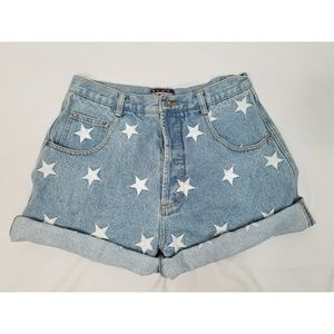 Vintage embroidered star denim shorts.